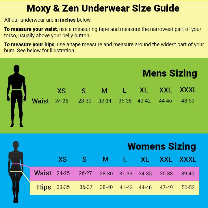 Moxy & Zen underwear size guide