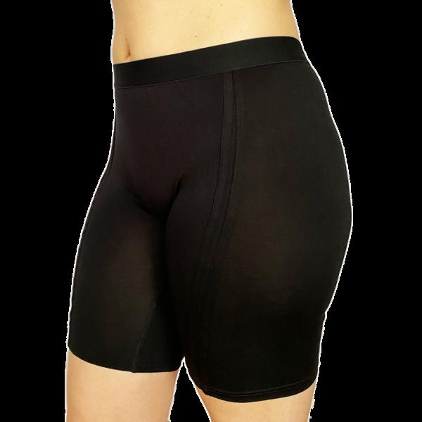 Women's Long Boxer Briefs - Dark Black